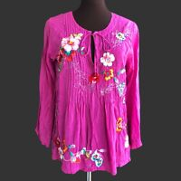 JOHNNY WAS Women's Size XS Magenta Purple Tie Pintuck Floral Rayon Blouse