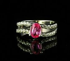 SIGNED OVAL NATURAL 1.28ctw PINK SAPPHIRE & DIAMOND SOLID 14K WHITE GOLD RING