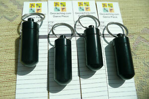 4x black bison tube geocache containers with Toughprint log roll