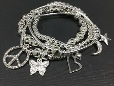 Boho bijoux 4 stretch Beaded bracelet Stack With Heart Star Butterfly Moon Peace
