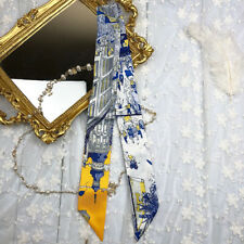 Tower Blue Yellow Silk Twilly Scarf Long Hair Ribbon Handbag purse handle Wrap