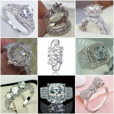 Elegant Women Silver White Topaz Ring Wedding Engagemen Bridal Jewelry Size 6-10
