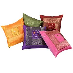 Ethnic Polydupion 40 x 40 cm Brocade Patchwork Embroidered Throw Pillow Covers