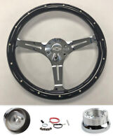 "60-69 Chevrolet Pick Up Steering Wheel Black Wood on Chrome 14"" with Bowtie cap"