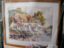 Vintage Needlepoint Kit Bucilla #4668 Riverbank Cottage 16 x 12 NIP