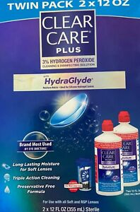 ✦ NEW ✦ CLEAR CARE PLUS W/HYDRAGLYDE CLEANING & DISINFECTING SOLUTION TWIN PACK