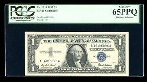 DBR 1957 Silver Gem Fr. 1619 AA Block PCGS 65 PPQ Serial A16896096A
