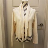 Eileen Fisher Womens Merino Wool Cream White Cardigan Sz L Italian Yarn