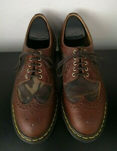 Rare Dr Martens Brown Leather Brogues Shoes Camo Made in England VGC - UK 9