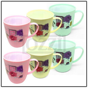 6 x FLORAL DRINKING CUPS Reusable Plastic Mugs Tea Coffee Camping Picnic Kids