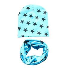 Baby Kids Hat Cap+Scarf Girl Boy Toddler Star Soft Cotton Winter Warm Scarf BA