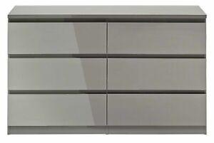 Jenson Gloss 3+3 Drawer Chest - Grey
