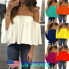 89df9d5e1b6 Womens Off Shoulder Blouse Sexy Strapless Top Ladies Frill Crop Tops Vest  Shirt