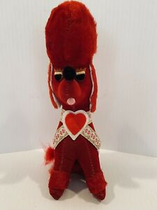"Vintage Red Velvet Poodle Plush Elvis Hair Commonwealth PA Japan 8"" Valentines"
