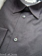 $900 Smart NEW Hermes Mens Dress Shirt Micro H logo 16.5 42 Plum Jacquard