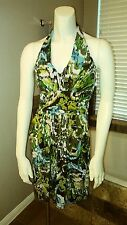 Bisou Bisou Womens Size 4 Halter Dress Padded Cups Bust Green Party Stretch Mini