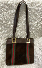 Vintage Gucci Boutique Brown Leather Suede Web Tote 60s 70s