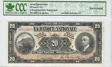 CANADA $20 1922 NATIONAL BANK SPECIMEN NOTE UNC