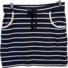 Nautica Navy Blue White Striped Cotton Skirt Sz Large Pockets Pull On Waist