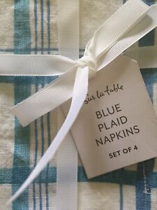 Sur la table Set of 4 Blue Plaid  Linen Napkins-New