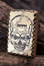Japanese Zippo Lighter - Japan - Barbed Wire Skull - Thorns - Antique Brass