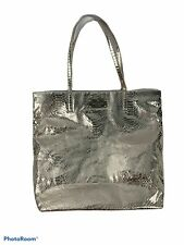 Kate Spade Cotton Tote Bag Metallic Snakeskin Silver Polka Dot Interior