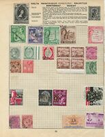 MALTA and MAURITIUS Stamps on 2 Pages from old Album with SG47 mint marginal etc