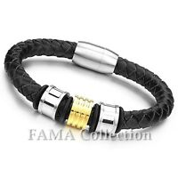 Stylish FAMA Black Leather Bracelet with 2Tone 316L Stainless Steel Beads