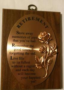Retirement/Employee/Appreciation Award Plaque 7 1/2 x 5 1/ Poem Printed