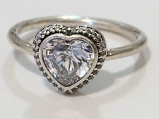 Authentic Pandora CZ Sparkling Love Heart Ring 190929 Retired