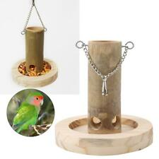 Wood + Bamboo Feeder Box with Wooden Base For Parrots Natural Bamboo Tube