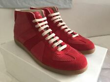 MAISON MARGIELA LINE 22 RED LEATHER HIGH TOP SNEAKERS SIZE EU 45 US 12