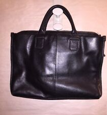 pre-loved authentic JACK GEORGES Black Calfsk Leather laptop TOTE Bag retail$650