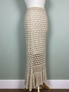 Cream Crochet Boho Fishtail Mermaid Long Maxi Skirt Size L 14/16