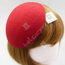 FASHION Wool Felt Women Fascinator Ladies Beret Pillbox Hat Plain Base NEW | Red