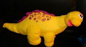"Fisher Price Dino Puffalump Dinosaur Roar Squeak Nylon Plush 20"" Vintage 1992"