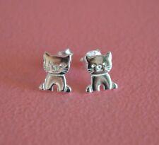 925 Sterling Silver Cat Stud Post Earrings - Small Cat Kitten Earrings *NEW*