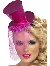 LADIES FEVER HEN NIGHT HOT PINK MINI TOP HAT HEADBAND FANCY DRESS COSTUME OUTFIT