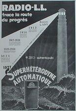 PUBLICITE RADIO LL SUPERHETERODYNE AUTOMATIQUE PHARE MER DE 1926 FRENCH AD PUB
