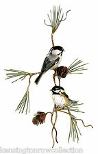 WALL ART - CHICKADEES PERCHED IN A PINE TREE METAL WALL SCULPTURE - WALL DECOR