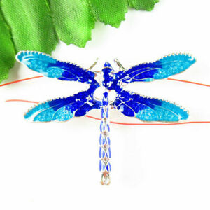 Carved Tibetan silver Dripping Oil Dragonfly Pendant Bead 46x32x3mm F35599