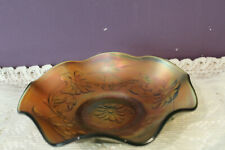 VINTAGE NORTHWOOD GREEN CARNIVAL GLASS POPPY VARIANT FLORAL AND VINE CANDY DISH