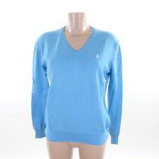 RALPH LAUREN V-Neck Pullover Feinstrick Türkis Blau Gr. L