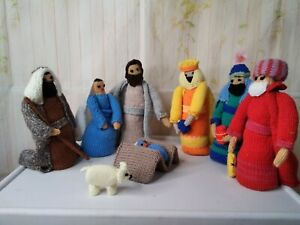 Nativity home made knitted 9 piece Nativity scene set