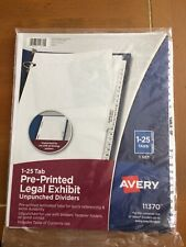 Avery Dennison Ave 11370 Premium Collated Legal Exhibit Dividers 26