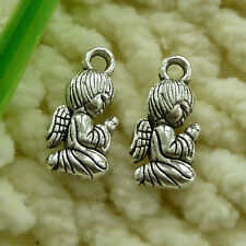 free ship 110 pieces tibetan silver Pray that the angels charms 16x8mm #2805