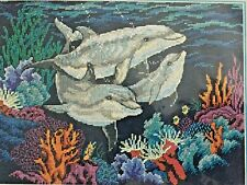 Vtg 1997 Counted Cross Stitch Kit Dolphin Family 7874 Dimensions Creative Accent