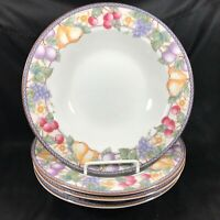 "Set of 4 American Atelier 9"" Fruit n Flowers Salad Bowls"