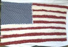 Handmade Patriotic AMERICAN FLAG Rag Throw Lap Sofa Blanket UNIQUE