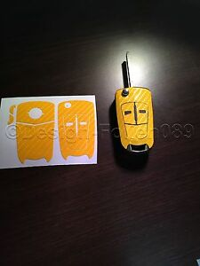 Carbon Gelb Folie Schlüssel Opel Astra Corsa GTC Vauxhall Vectra Zafira VXR